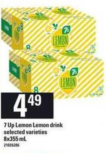 7 Up Lemon Lemon Drink - 8x355 mL