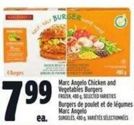 Marc Angelo Chicken And Vegetables Burgers Frozen - 480 g
