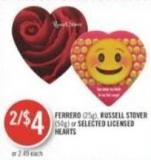 Ferrero (25g) - Russell Stover (50g) or Selected Licensed Hearts