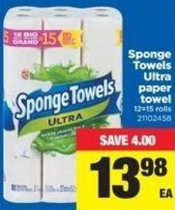 Sponge Towels Ultra Paper Towel - 12=15 Rolls