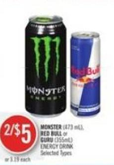 Monster (473 Ml) - Red Bull or Guru (355ml) Energy Drink