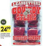 Leadbetters Cowboy Steaks Frozen Seasoned 1.8 Kg