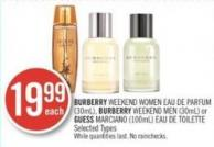 Burberry Weekend Women Parfum (30ml) - Burberry Weekend Men (30ml) or Guess Marciano (100ml) Toilette