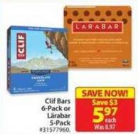 Clif Bars 6-pack or Lärabar 5-pack