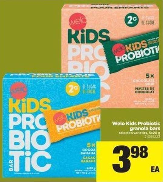 Welo Kids Probiotic Granola Bars - 5x20 G