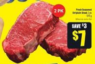 Fresh Seasoned Striploin Steak 2 Pk 570 g