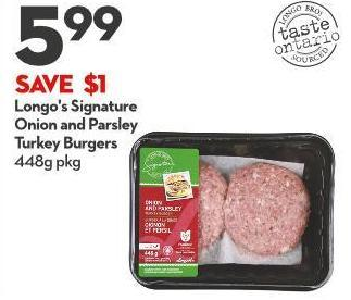 Longo's Signature  Onion and Parsley  Turkey Burgers 448g Pkg