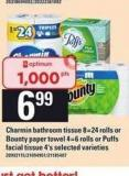 Charmin Bathroom Tissue - 8=24 Rolls Or Bounty Paper Towel - 4=6 Rolls Or Puffs Facial Tissue - 4's