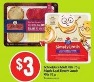 Schneiders Adult Kits 75 g Maple Leaf Simply Lunch Kits 81 g
