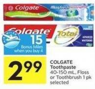 Colgate Toothpaste 40-150 mL - Floss or Toothbrush 1 Pk Selected - 15 Air Miles Bonus Miles