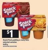 Snack Pack Pudding Or Juicy Gels - 4x99 g