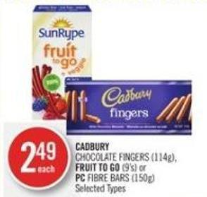 Cadbury Chocolate Fingers (114g) - Fruit To Go (9's) or PC Fibre Bars (150g)