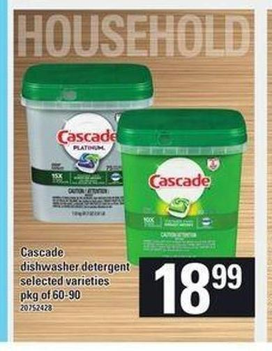 Cascade Dishwasher Detergent - Pkg of 60-90