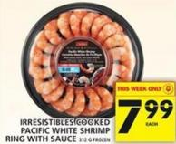 Irresistibles Cooked Pacific White Shrimp Ring With Sauce