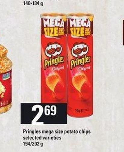 Pringles Mega Size Potato Chips - 194/202 g