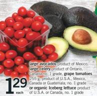 Large Avocados - Large Celery - Grape Tomatoes - 255 G Or Organic Iceberg Lettuce Product