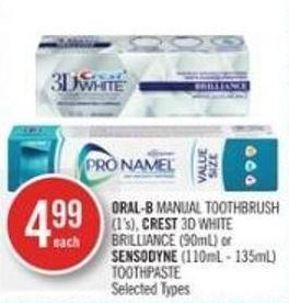 Oral-b Manual Toothbrush (1's) - Crest 3D White Brilliance (90ml) or Sensodyne (110ml-135ml) Toothpaste