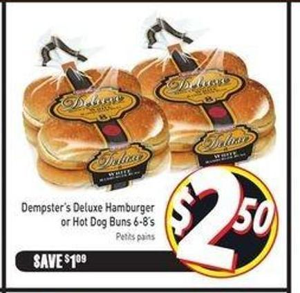 Dempster's Deluxe Hamburger or Hot Dog Buns 6-8's