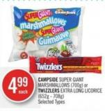 Campside Super Giant Marshmallows (700g) or Twizzlers Extra Long Licorice (652g - 708g)