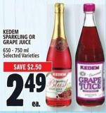 Kedem Sparkling Or Grape Juice 650 - 750 ml