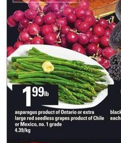 Asparagus Or Extra Large Red Seedless Grapes