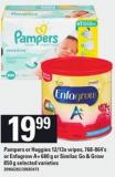 Pampers Or Huggies - 12/13x Wipes - 768-864's Or Enfagrow A+ - 680 G Or Similac Go & Grow - 850 G