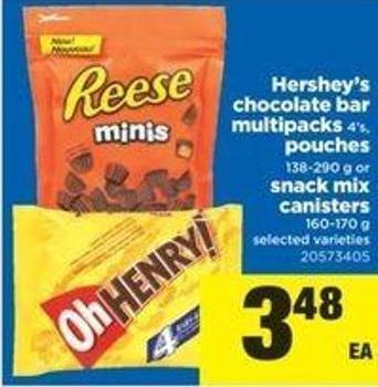 Hershey's Chocolate Bar Multipacks - 4's - Pouches - 138-290 G Or Snack Mix Canisters - 160-170 G