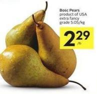 Bosc Pears Product of USA Extra Fancy Grade