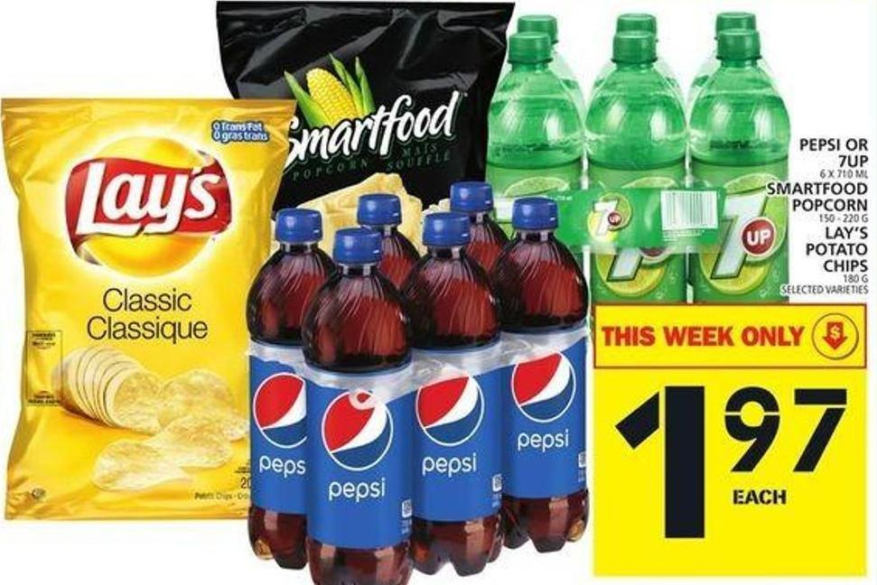 Pepsi Or 7up Or Smartfood Popcorn Or Lay's Potato Chips