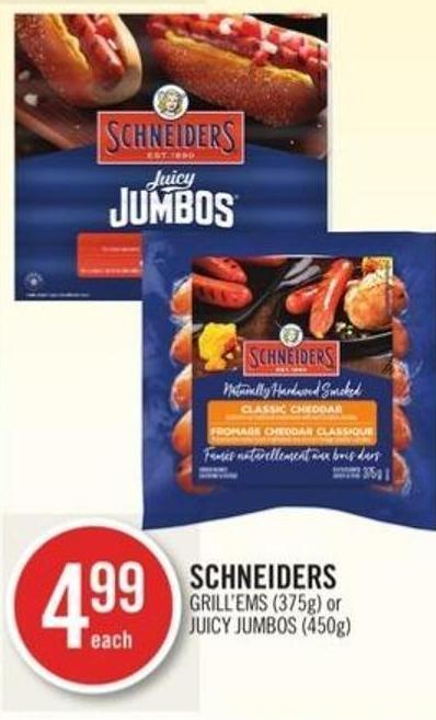 Schneiders Grill'ems (375g) or Juicy Jumbos (450g)