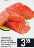 Fresh Atlantic Salmon Portions 113 G - Fresh Rainbow Trout Portions 95 G