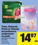 Tena - Depend - Poise Or Always Incontinence Underwear Or Pads - 10-126's