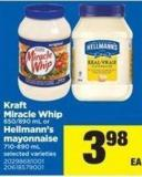 Kraft Miracle Whip 650/890 Ml Or Hellmann's Mayonnaise 710-890 Ml