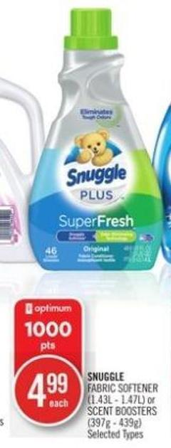 Snuggle Fabric Softener (1.43l - 1.47l) or Scent Boosters (397g - 439g)