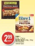 Fibre 1 (125g - 175g) or Nature Valley (148g - 295g) Protein Bars