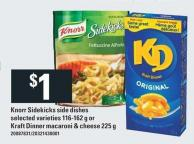 Knorr Sidekicks Side Dishes 116-162 G Or Kraft Dinner Macaroni & Cheese 225 G
