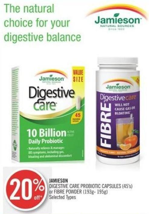 Jamieson Digestive Care Probiotic Capsules (45's) or Fibre Powder (193g- 195g)