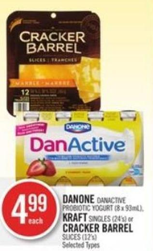Danone Danactive Probiotic Yogurt (8 X 93ml) - Kraft Singles (24's) or Cracker Barrel Slices (12's)
