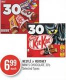 Nestlé or Hershey Mini's Chocolate 30's