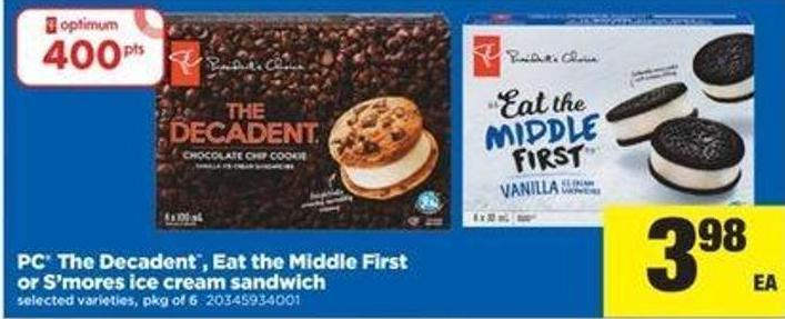 PC The Decadent - Eat The Middle First Or S'mores Ice Cream Sandwich - Pkg Of 6