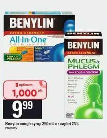 Benylin Cough Syrup 250 Ml Or Caplet 24's