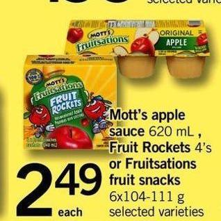 Mott's Apple Sauce 620 Ml - Fruit Rockets 4's Or Fruitsations Fruit Snacks 6x104-111 G