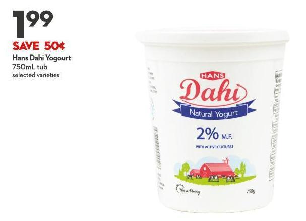 Hans Dahi Yogourt 750ml Tub