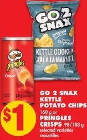 Go 2 Snax Kettle Potato Chips - 160 g or Pringles Crisps - 98/103 g