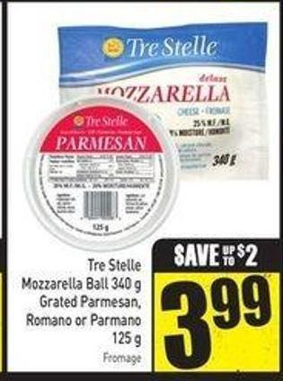 Tre Stelle Mozzarella Ball 340 g Grated Parmesan - Romano or Parmano 125 g