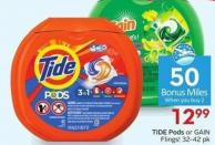 Tide Pods or Gain Flings! 32-42 Pk 50 Air Miles Bonus Miles
