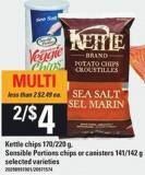Kettle Chips - 170/220 G - Sensible Portions Chips Or Canisters - 141/142 G