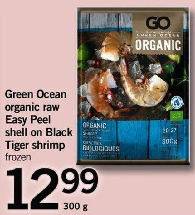 Green Ocean Organic Raw Easy Peel Shell On Black Tiger Shrimp - 300 G