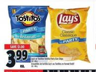 Lay's or Tostitos Tortilla Party Size Chips