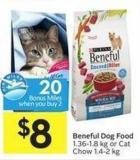 Beneful Dog Food 1.36-1.8 Kg or Cat Chow 1.4-2 Kg - 20 Air Miles Bonus Miles